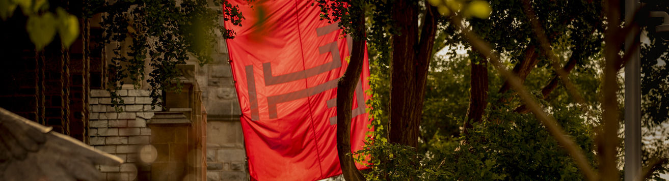 A red Temple flag hangs behind trees on Temple's Main Campus.