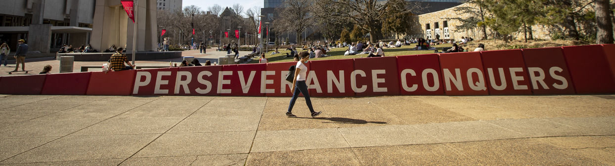 """Temple's motto, """"Perseverance Conquers"""", at Beury Beach."""