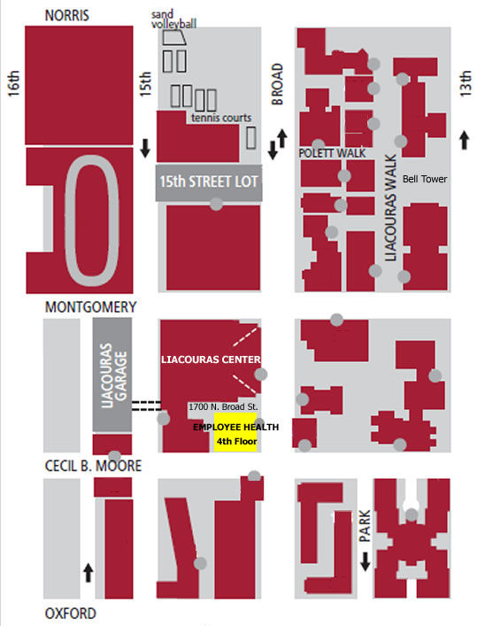 A map of Employee Health Services location at Temple's Main Campus.